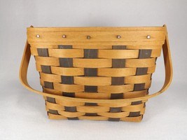 Vintage Longaberger Basket 1988 Memory Basket 2-tone wood w/ hinged handle VGC - $39.99