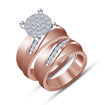 Round Cut Diamond 14K Rose Gold Fn 925 Silver Wedding Bridal Engagement ... - $83.99