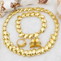 Nigerian Dubai Gold Jewelry Sets for Women Necklace Earrings Ring Charm ... - $26.30