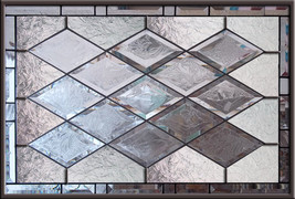 Stained Glass Window Antique Beveled  Panel diamonds privacy - $177.00