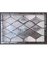 Stained Glass Window Antique Beveled  Panel diamonds privacy - $250.00