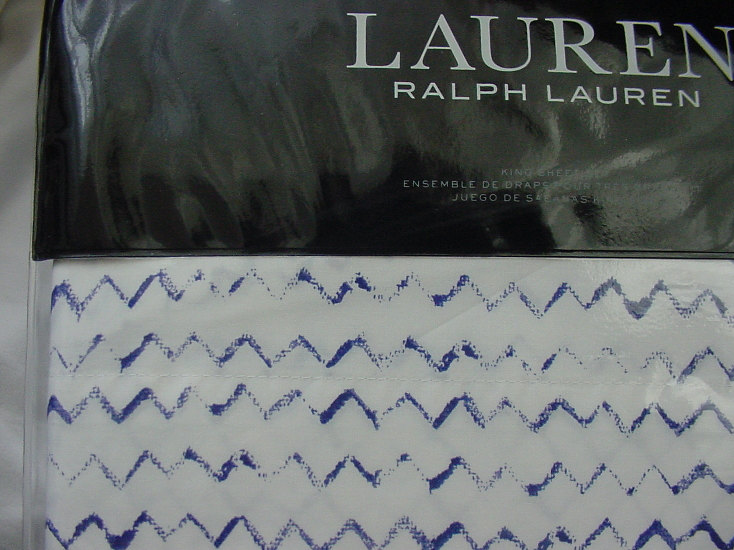 Ralph Lauren Nora Zig Zag Blue on White Sheet Set Queen