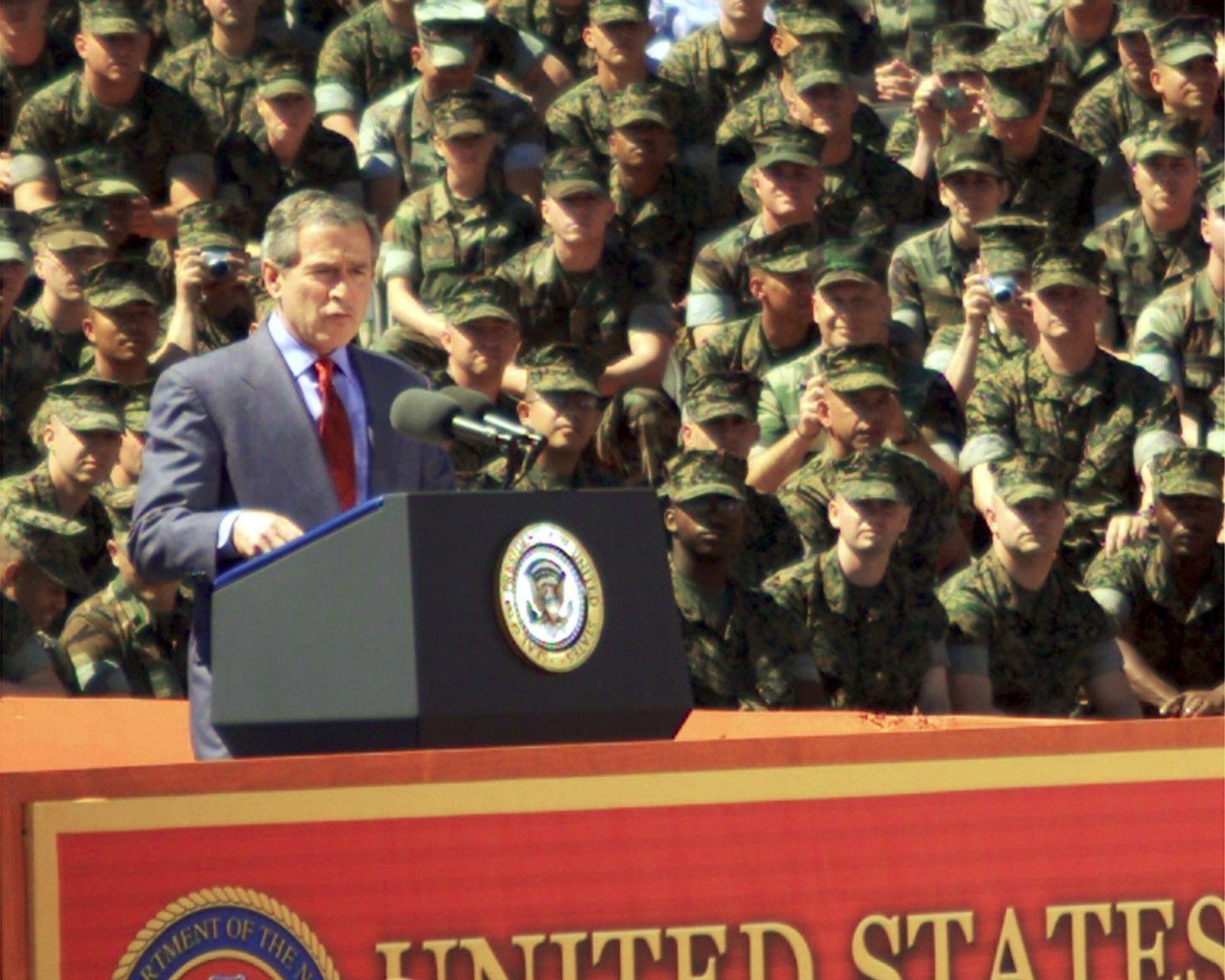 President George W. Bush speaks to Marines at Camp Lejeune 2003 Photo Print - $7.49 - $12.49
