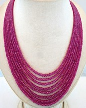 NATURAL HEATED BURMA RUBY FACETED BEADS 8 LINE 573 CARATS GEMSTONE NECKLACE - $4,560.00