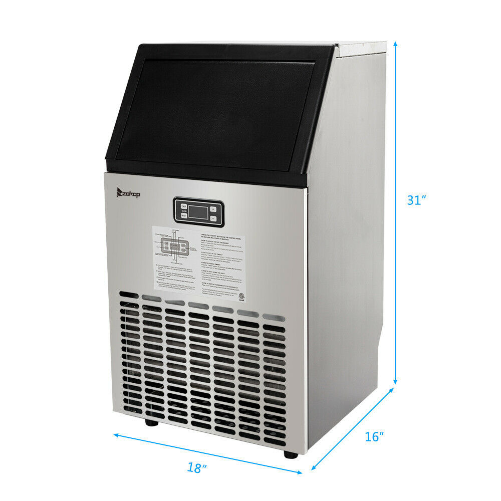 270W-500W 99Lbs 115V 60Hz Stainless Steel Commercial Ice Maker Black US Plug image 2
