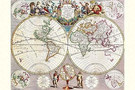 World Map with Figural Representations of the World's Peoples by John Seney - Ar - $19.99+