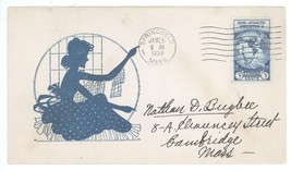 1934 Springfield to Cambridge Massachusetts Cover w/ Lady Pointing Cache... - $7.69