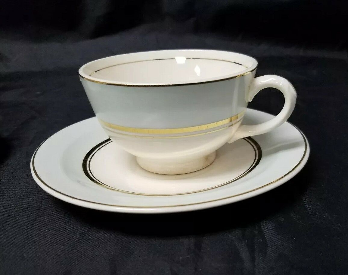 The French Saxon China Co Tea Cup & Saucer Set of 2, 22kt Gold, Pottery Made USA image 3