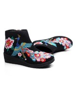 Colorful Phoenix Vintage Beijing Cloth Shoes Embroidered Boots black 35 - $38.99