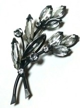 VINTAGE UNSIGNED SCHREINER OPEN BACK CLEAR RHINESTONE JAPANNED BROOCH PIN - $92.00