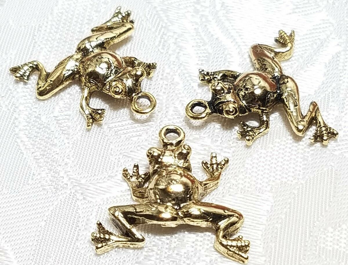 FROG FINE PEWTER PENDANT CHARM - 21x20x5mm