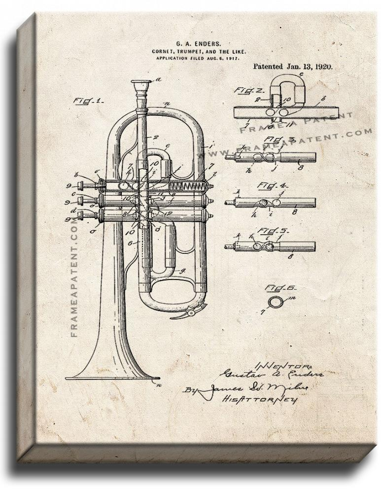 Primary image for Cornet or Trumpet Patent Print Old Look on Canvas