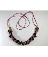 Necklace Multicolor Fibers Kumihimo Woven Handcrafted 22 Inches Soft Dus... - $44.99