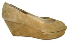 Michael Kors MK Beige Suede Wedge Heel Peep Toe Shoes Women's Size 6.5 M - $22.17