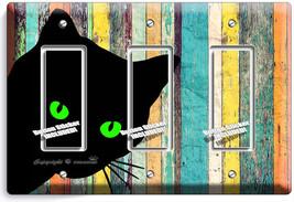 Peeking Black Cat Green Eyes Rustic Wood 3 Gfi Light Switch Wall Plate Art Decor - $16.19