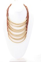Brown Multi Strand Designer Genuine leather Cord Metal Tubes Draped Neck... - $64.35
