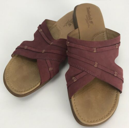 Primary image for Timberland Comforia System Size 9 M Leather Slide On Sandals Pink Blush