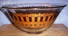EAMES ERA MID CENTURY MODERN--GOLD CULVER CRANBERRY SCROLL GLASS BOWL - $32.45