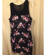 H & M Black Floral Print Dress Size Medium - $15.84
