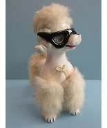 Vintage Ceramic Poodle Cats Eye Glasses Fur Jeweled Eyes Anthropomorphic... - $25.00