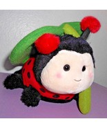 Aurora Ladybug Under Leaf Plush Stuffed Animal Rainy Day Red Black - $15.82