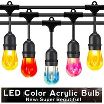 Foxlux Outdoor string lights colorful LED string lights 48FT patio light... - $64.88