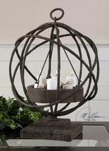 "Spanish Hacienda Xxl 21"" Aged Iron Globe Candle Holder Rustic Wood Uttermost - $261.80"