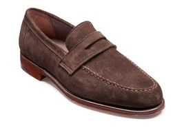Genuine Suede Leather Men Brown Tone Apron Toe Moccasin Handcrafted Shoes - $139.99+