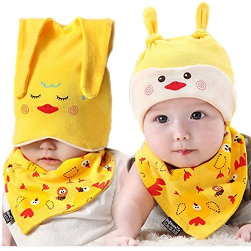 Baby Multifunctional Toddler Soft Infant Cotton Hat 0-18Months(Yellow)