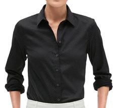 Banana Republic Black White Polka Dot Tailored Button Down Shirt Top  2 ... - $59.39