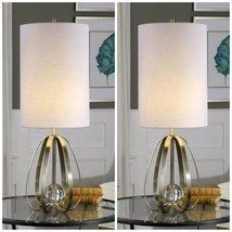 "PAIR 30"" AGED BRUSHED NICKEL METAL CAGE CRYSTAL SPHERE TABLE AVOLA LAMP ... - $303.60"