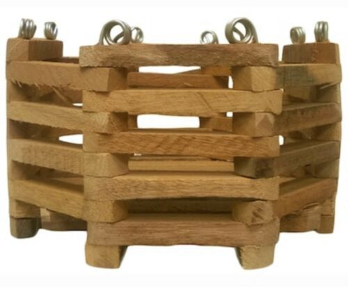 "Primary image for BETTER-GRO 6"" x 4.5"" Natural Hard Wood Hanging Orchid Vanda Octagonal Basket"