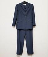 Le Suit Womens Lined Pant Suit Size 6P Blue Polyester Tweed Blazer & Slacks - $44.82