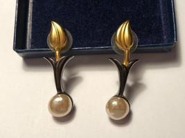 Karl Lagerfeld Signature Vintage Gold Tone Pearl Metallic Enamel Dangle Earrings - $395.99