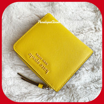 NWT KATE SPADE CAMERON MONOTONE SMALL L ZIP BIFOLD WALLET IN VIBRANT CANARY - $54.33