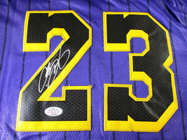 LEBRON JAMES / AUTOGRAPHED LOS ANGELES LAKERS PRO STYLE BASKETBALL JERSEY / COA image 3