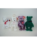 Lot of 4 Ty Bears Beanie Baby Babies Plush 1998 to 2001 - $19.70