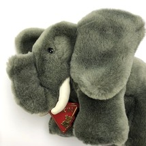 "Dakin Soft Plush Elephant Leather Tusks 6.5"" Tall 1985 Stuffed Animal Bl... - $18.49"