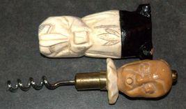 Corkscrew Vintage Carved Wood Marble 2 Faces Signed BOUYE Hidden Worm 128 gr image 6