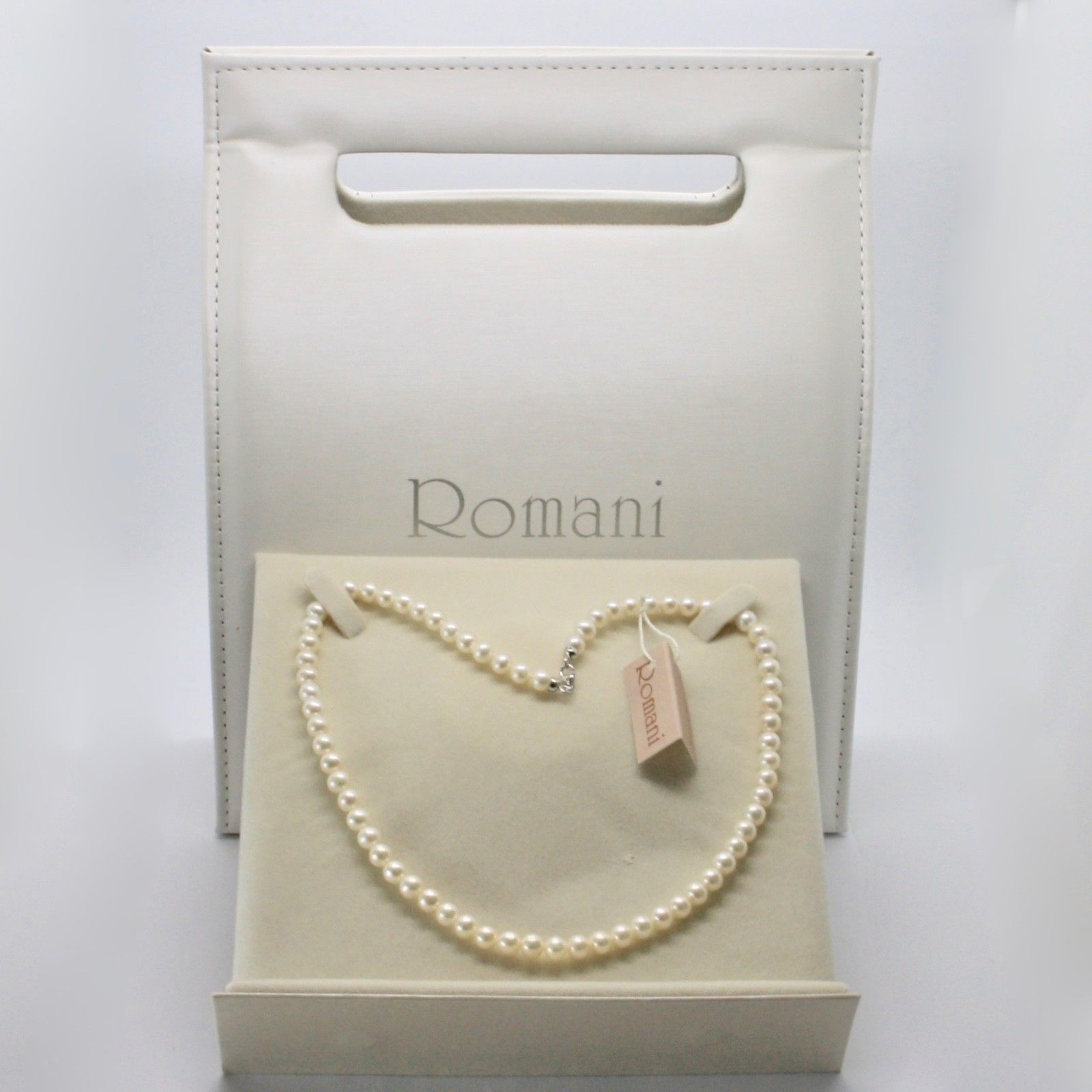 NECKLACE WHITE GOLD 18KT AND SILVER 925 WITH PEARLS 5.5 6 MM BEAUTIFUL BOX