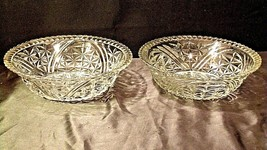 Heavy Etched Cut Glass Serving Bowls (Pair) AA20-CD0059 Vintage