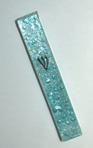 Judaica Mezuzah Case Clear Glass Aqua Bubbles 12 cm Irregular Facet Closed Back