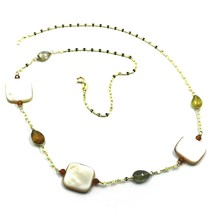 """18K YELLOW GOLD NECKLACE OVAL CHAIN, TOURMALINE DROPS, MOTHER OF PEARL, 18"""" image 1"""