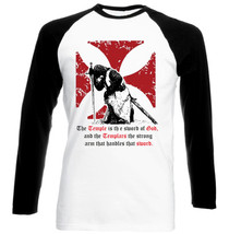 Knight Templar The Temple Quote - New Cotton Black Sleeved TSHIRT- All Sizes - $27.47