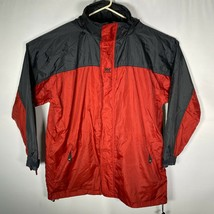 Helly Hansen Tech Mens Red Black Full Zip Nylon Packable Rain Jacket Sz XL - $32.40