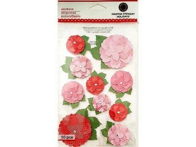 Martha Stewart Holidays Layered Printed Rose Stickers, #41-00155