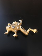 Vintage Brooch Pin Clear Crystal Rhinestone Frog Gold tone Jewelry - $7.70