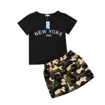 Newborn kid girls top print army green skirt - $11.59