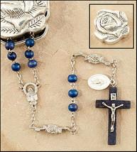 Marian Rose Petal Rosary Blue Wood Beads w/ Metal Rose Box - $14.95