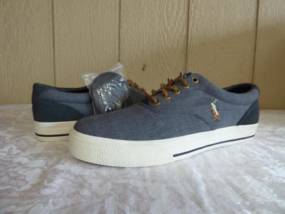 $59.00 Polo Ralph Lauren Vaughn Canvas /Suede Men's Sneakers, Gray, US 8.5, D